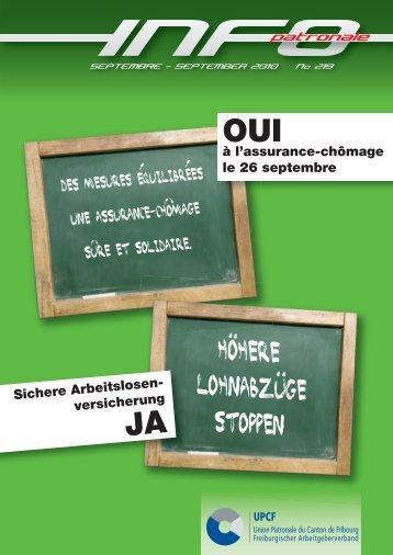 Septembre 2010 copie.indd - Union Patronale du Canton de Fribourg