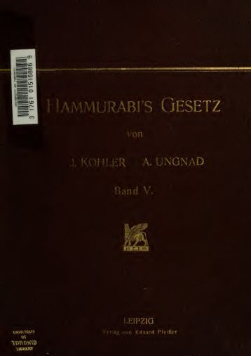 Hammurabi's Gesetz;