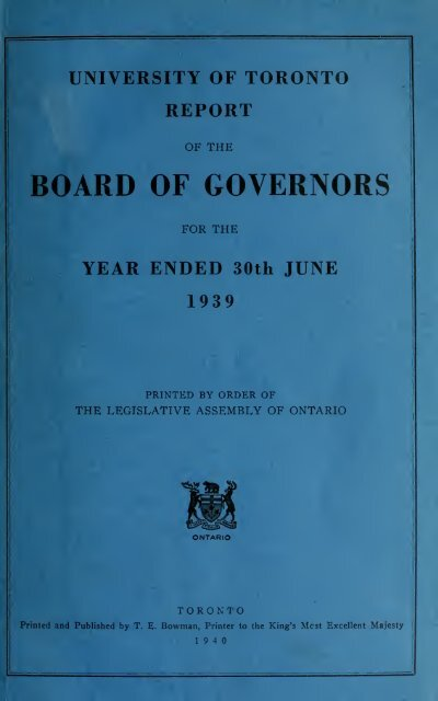 University of Toronto Report of the Board of Governors for