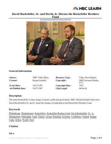 David Rockefeller, Sr. and David, Jr. Discuss the Rockefeller ...