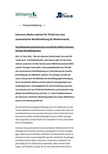 Pressemitteilung Lehmanns Media realisiert für ThULB Jena eine ...