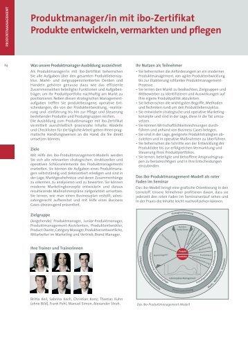 Produktmanager/in mit ibo-Zertifikat Produkte entwickeln, vermarkten
