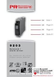 Bedienungsanleitung, Manuel, Manual, Manuale, 9203, PR ...