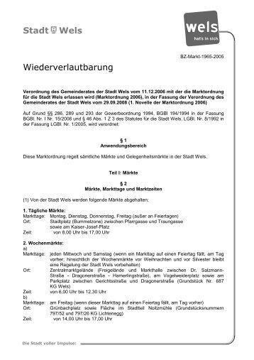 Marktordnung (83 KB) - Stadt Wels