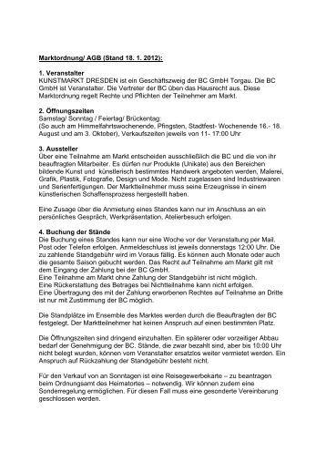 Marktordnung/ AGB (Stand 18. 1. 2012): 1. Veranstalter ... - BC-GmbH