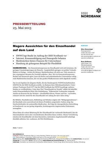 Pressemitteilung der HSH Nordbank - HWWI