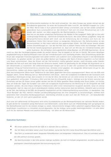 Marktkommentar _ Mai 2011 - SCA