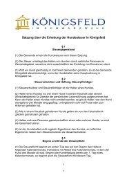Satzung über die Erhebung der Hundesteuer in Königsfeld