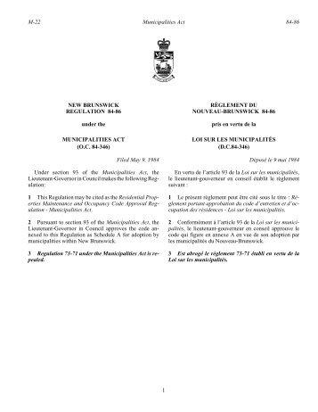 NEW BRUNSWICK REGULATION 84-86 under the RÈGLEMENT ...