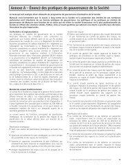 Annexe A – Énoncé des pratiques de gouvernance de la Société