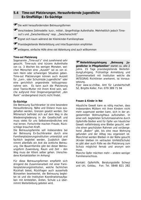 Wegleitung Soziale Betreuung auf dem Bauernhof - Kanton Schwyz
