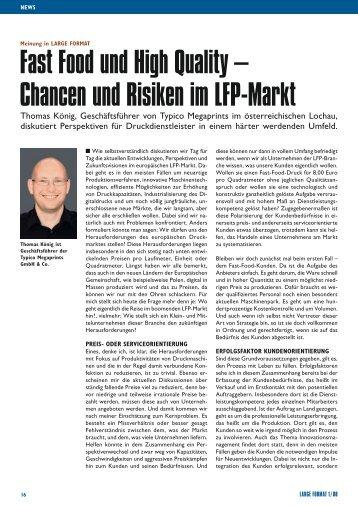 fast food und High Quality – Chancen und risiken im lfP-markt