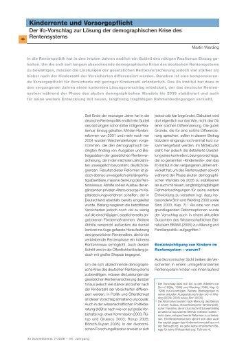Kinderrente und Vorsorgepflicht - ifo Institut