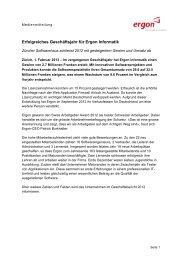 Erfolgreiches Geschäftsjahr für Ergon Informatik - Ergon Informatik AG