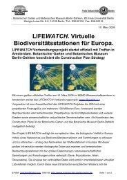 LIFEWATCH. Virtuelle Biodiversitätsstationen für Europa.