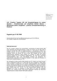 Zwischenbericht 1999/I - A.S. Création