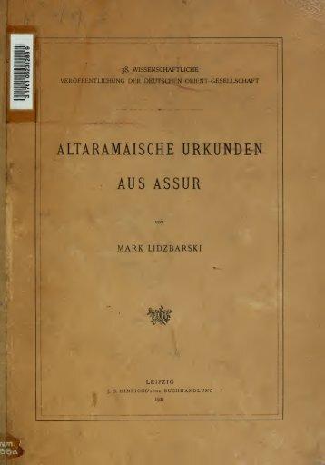 Altaramäische Urkunden aus Assur