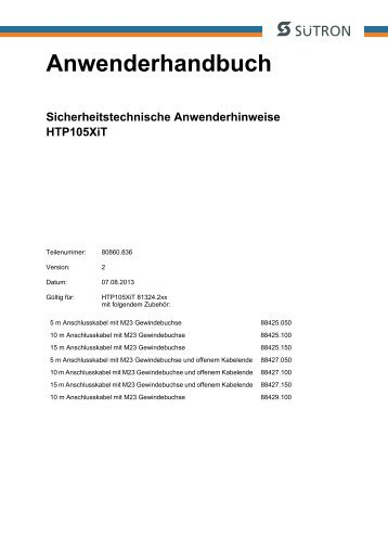 Anwenderhandbuch Sicherheitstechnische Anwenderhinweise ...