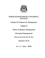 NORTH MAHARASHTRA UNIVERSITY, JALGOAN Faculty of ...