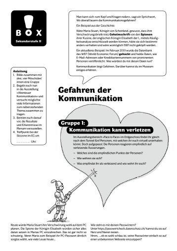 Gefahren der Kommunikation (pdf) - Museum für Kommunikation, Bern