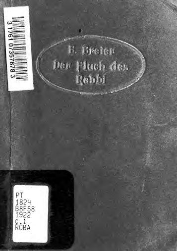 Der Fluch des Rabbi : Sittengemälde aus dem fünfzehnten ...