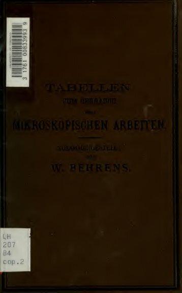 Tabellen zum Gebrauch bei mikroskopischen Arbeiten
