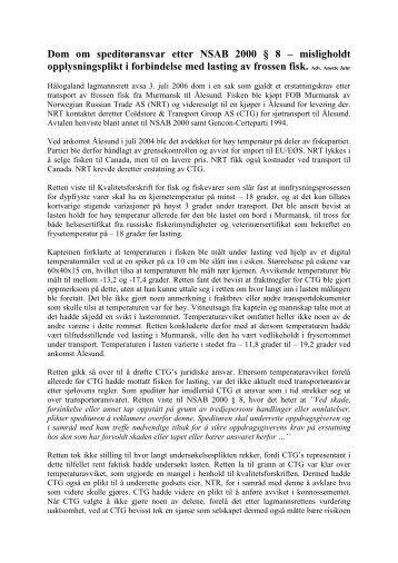 Dom om speditøransvar etter NSAB 2000 § 8 – misligholdt ...