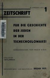 Zeitschrift für die Geschichte der Juden in der Tschechoslowakei