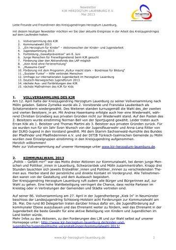 Newsletter 2013-02 - Kreisjugendring Herzogtum Lauenburg