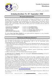 Schulnachrichten Nr. 85 / September 2006 - Goethe Gymnasium ...
