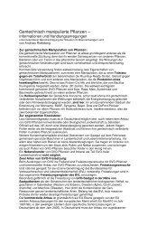 Gentechnisch manipulierte Pflanzen - Cyty-Braunschweig