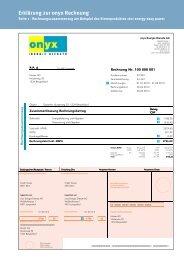 Rechnungserklärung Geschäftskunden - Onyx Energie Mittelland