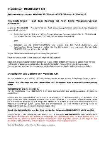 Installation MELDELISTE 8.0 Installation als Update ... - PK-Software