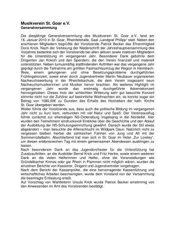 Artikel Generalversammlung 2010 - Musikverein St. Goar eV