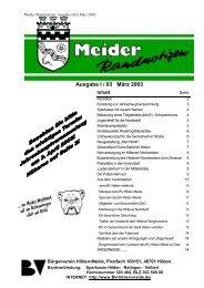Ausgabe I / 03 März 2003 - Bürgerverein Hilden-Meide eV