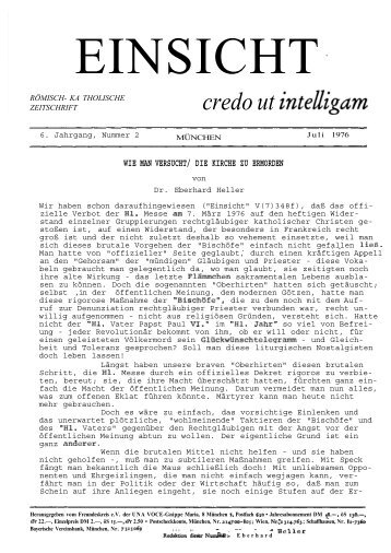 6. Jahrgang, Heft 2 (Juli 1976) - Catholicapedia