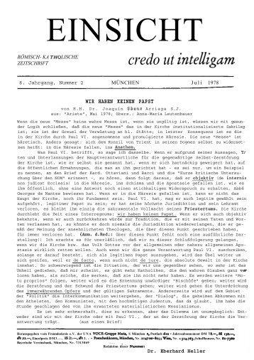 8. Jahrgang, Heft 2 (Juli 1978) - CatholicaPedia