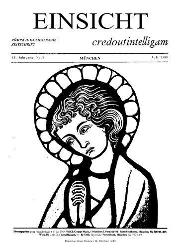 15. Jahrgang, Heft 3 (Juli 1985) - Catholicapedia