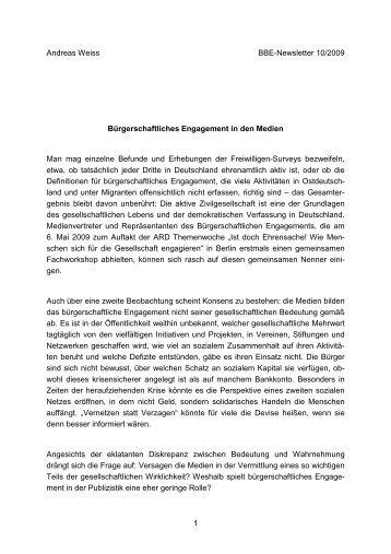 Bürgerschaftliches Engagement in den Medien - BBE