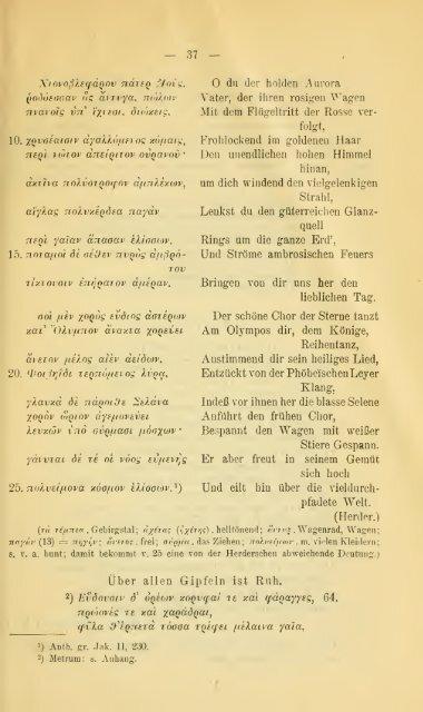 Poetische Dokumente griechischen Lebens und Denkens ...