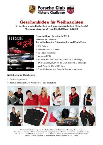 Geschenkidee für Weihnachten - Porsche Club CMS