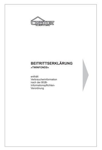 Beitrittserklärung »TWINFONDS - CASTOR Kapital GmbH & Co. KG