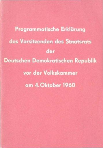 Programmatische Erklarung des Vorsitzenden des Staatsrats der ...