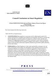 E Council Conclusions on Smart Regulation - Europa