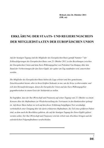 Erklärung der Staats- und Regierungschefs der Mitgliedstaaten der