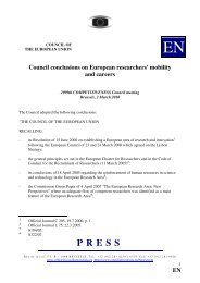 Council conclusions on European researchers' mobility ... - Europa