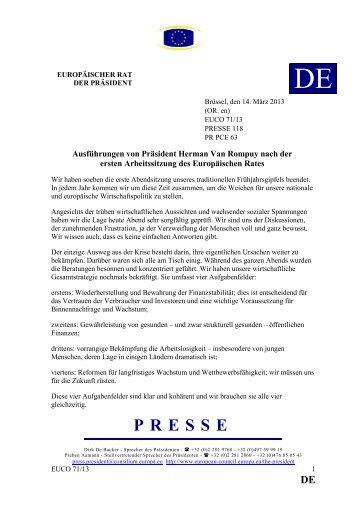 Ausführungen von Präsident Herman Van Rompuy nach der ersten ...