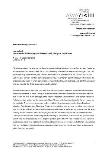 Öffentlichkeitsarbeit presse@zkm.de T.: +49 (0)721 / 81 00-12 01 ...