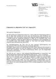 """Erdgaspreis im """"Allgemeinen Tarif"""" ab 1. August 2011"""