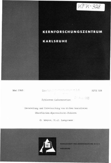 Mai 1965 Zyklotron -LaboratoriUITl Herstellung und ... - Bibliothek